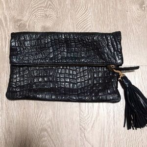 Clare V Fold Over Croc Clutch